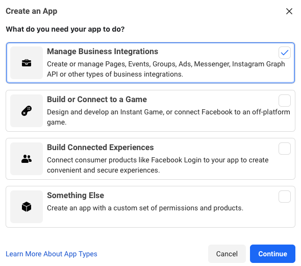 creating a new app in Facebook for Developers