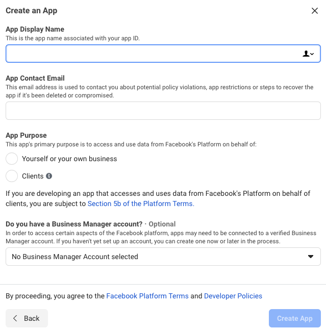 form for creating the app in Facebook for Developers