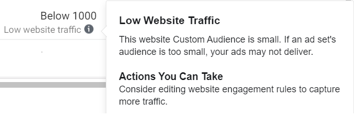 facebook ads low website traffic