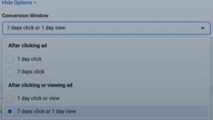 facebook ad conversion window