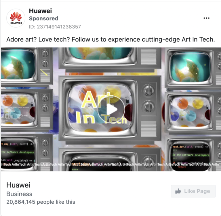 facebook ads library huawei